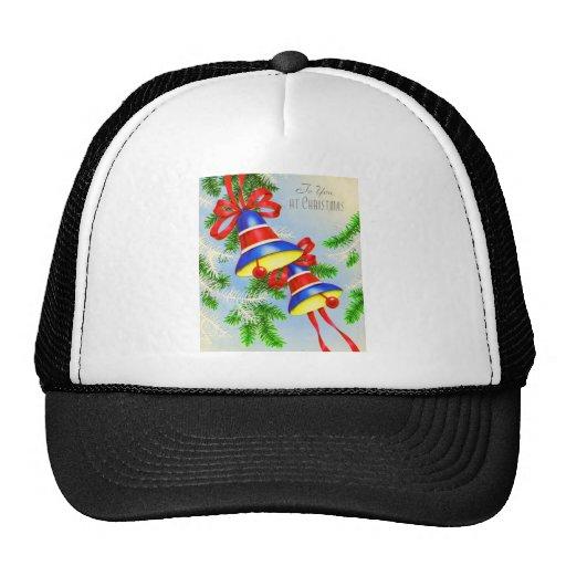 Vintage Christmas Xmas Bells Mesh Hat