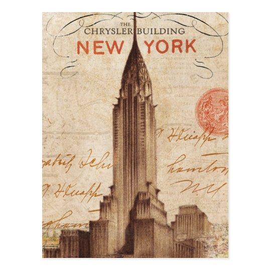Vintage Chrysler Building in New York Postcard