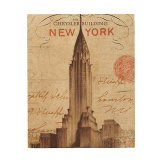 Vintage Chrysler Building in New York Wood Print
