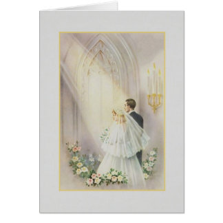 Vintage Church Wedding Card