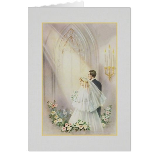 Vintage Church Wedding Card