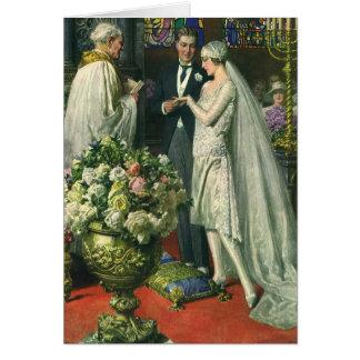 Vintage Church Wedding Ceremony; Bride and Groom Cards