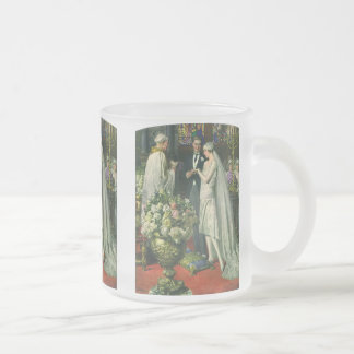 Vintage Church Wedding Ceremony; Bride and Groom Frosted Glass Coffee Mug