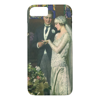 Vintage Church Wedding Ceremony; Bride and Groom iPhone 7 Case
