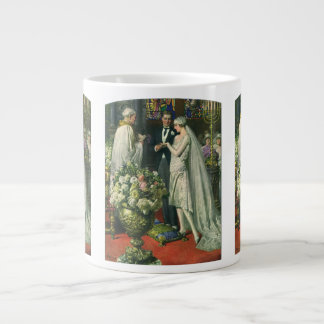 Vintage Church Wedding Ceremony; Bride and Groom Jumbo Mug