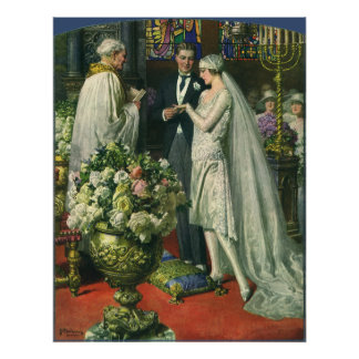 Vintage Church Wedding Ceremony Bride and Groom Poster