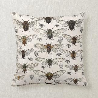 Vintage Cicadas Illustration Cushion