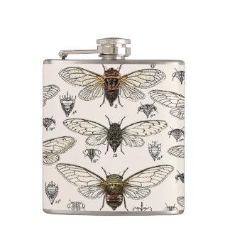 Vintage Cicadas Illustration Hip Flask