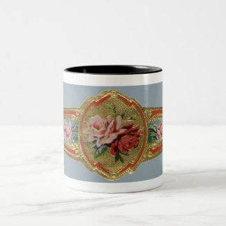 Vintage Cigar Band Label Art, Rose Flowers Two-Tone Coffee Mug