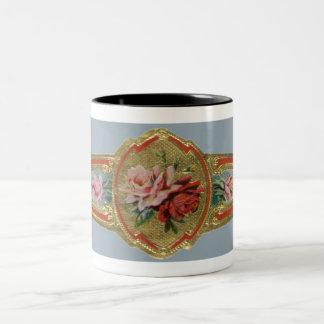 Vintage Cigar Band Label Art, Rose Flowers Two-Tone Mug