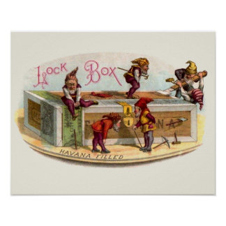Vintage Cigar Box Gnomes Poster