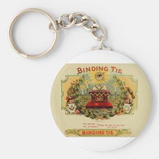 Vintage Cigar Box Label  BINDING TIE   (15) Basic Round Button Key Ring