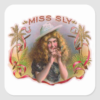 Vintage Cigar Box Label Miss Sly Cigars Square Sticker