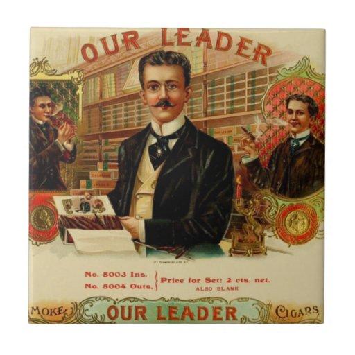 Vintage Cigar Box Label 'Our Leader' Tile
