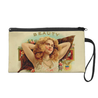 Vintage cigar box wristlet purse