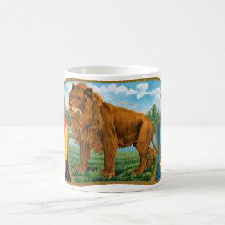 Vintage Cigar Label Art, African Lion in Savannah Basic White Mug