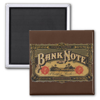 Vintage Cigar Label Art, Bank Note Money Finance Square Magnet
