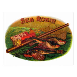 Vintage Cigar Label Art by Sea Robin, Fishing Gear Postcard