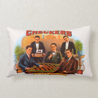 Vintage Cigar Label Art, Checkers Mild and Mellow Lumbar Pillow