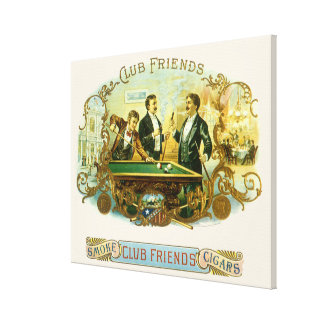 Vintage Cigar Label Art, Club Friends Billiards Canvas Print