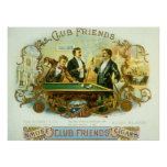 Vintage Cigar Label Art, Club Friends Billiards Poster