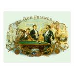 Vintage Cigar Label Art Club Friends Shooting Pool Postcards
