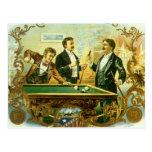Vintage Cigar Label Art Club Friends Shooting Pool Post Card
