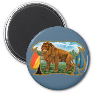 Vintage Cigar Label Art, King of the Jungle Lion 6 Cm Round Magnet