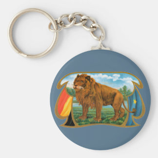Vintage Cigar Label Art, King of the Jungle Lion Basic Round Button Key Ring