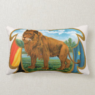 Vintage Cigar Label Art, Lion, King of the Jungle Lumbar Pillow