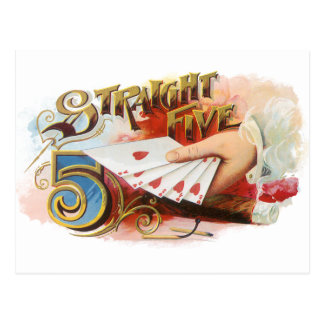 Vintage Cigar Label Art Straight Flush with Hearts Postcard
