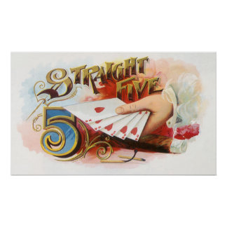 Vintage Cigar Label Art Straight Flush with Hearts Print