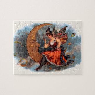 Vintage Cigar Label Art, Victorian Fairy on Moon Jigsaw Puzzle