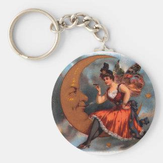 Vintage Cigar Label Art, Victorian Fairy on Moon Key Ring