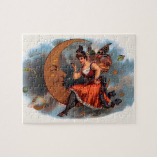 Vintage Cigar Label Art, Victorian Fairy on Moon Puzzle