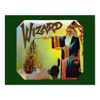 Vintage Cigar Label Art, Wizard with Black Cat 11 Cm X 14 Cm Invitation Card