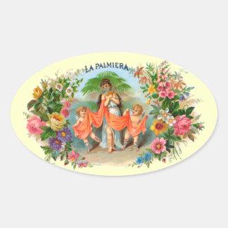 Vintage Cigar Label, La Palmiera Lady Roses Angels Oval Sticker