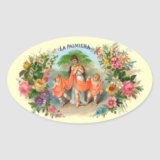 Vintage Cigar Label La Palmiera, Woman with Angels Oval Sticker