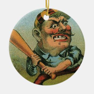 Vintage Cigar Label, Sports Baseball Tansill Punch Round Ceramic Decoration