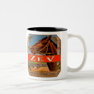 Vintage Cigar Label, Zev Cigars with Racing Horses Two-Tone Coffee Mug