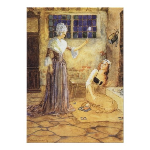 Vintage Cinderella and Fairy Godmother Fairy Tale Print