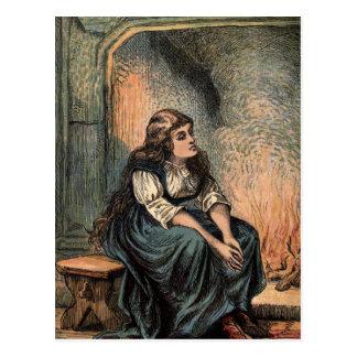 Vintage Cinderella Being Sad Postcard