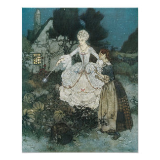Vintage Cinderella Fairy Godmother by Edmund Dulac Poster