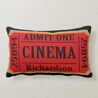 Vintage Cinema Movie Ticket Family Name Lumbar Cushion