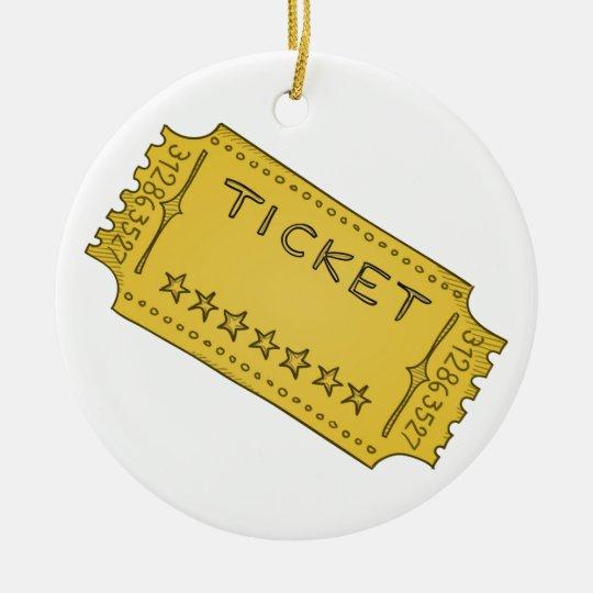 Vintage Cinema Ticket Christmas Ornament