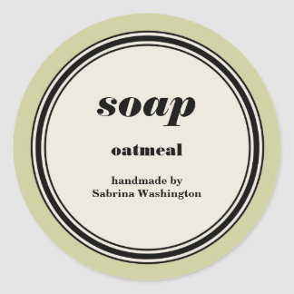 Vintage Circle Frame Handmade Soap Label Template Round Sticker