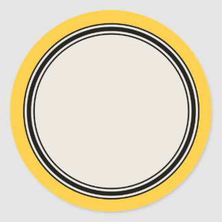 Vintage Circle Label Template, Yellow