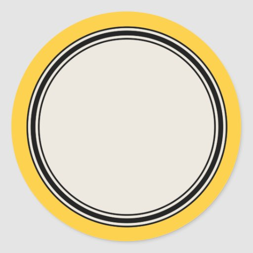 3 4 round label template - vintage circle label template yellow round sticker