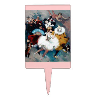 Vintage Circus Ballerina Cake Toppers