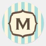 Vintage Circus Blue Stripes Monogram Round Sticker